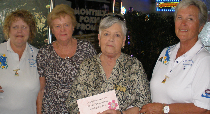 Vicki Rankin, Secretary Tea Gardens Women's Bowling Club, Margaret Dougherty, Elaine Weaver and Sandra Leisemann, President Tea Gardens Women's Bowling Club.