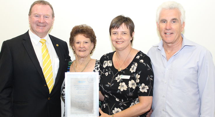 Stephen Bromhead congratulates Mayor Cr Jan McWilliams, Council's Community Services Coordinator Ms Lyndie Hepple and General Manager Mr Glenn Handford.