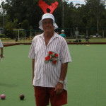 Henk Faber, entering into the Christmas festivities at Sunday Bowls