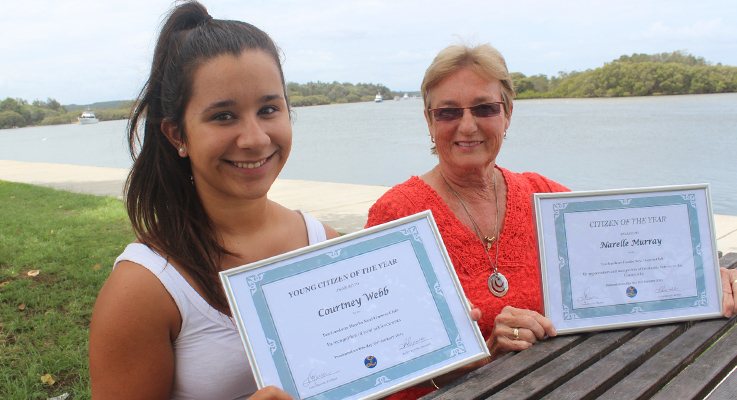 Young Citizen of the Year Courtney Webb and Senior Citizen of the Year Narelle Murray