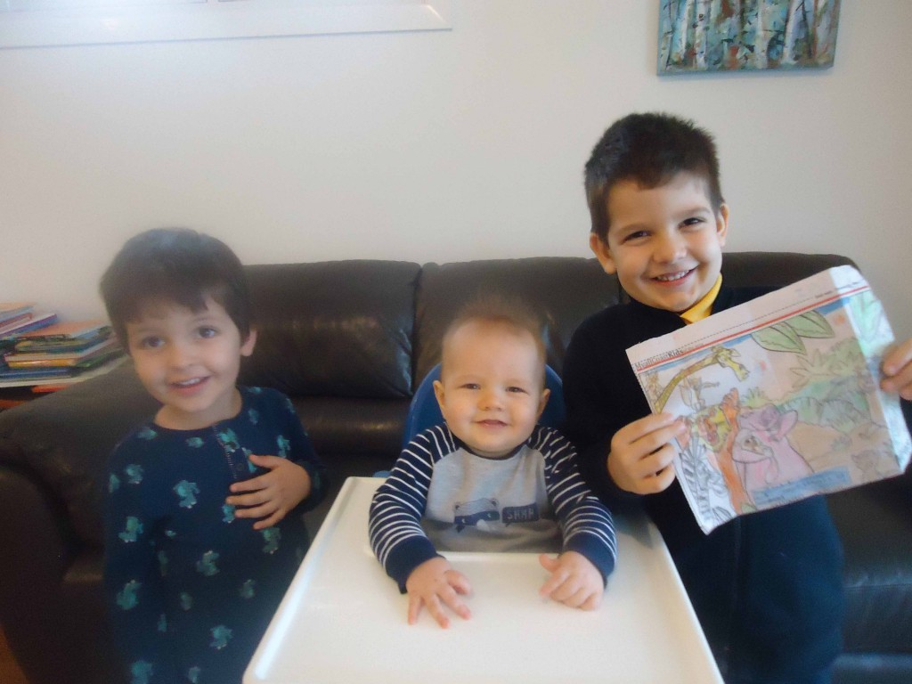 William (3), Alistair (8 mths) and Jack (5), they are looking forward to a family day at the zoo.