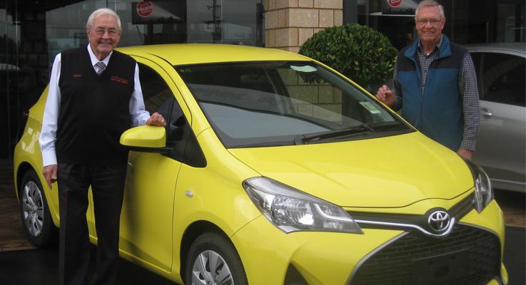 Norm Burton of Maitland and Port Stephens Toyota with Rotarian Ian Mackenzie-Smith