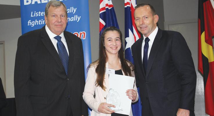 Bob Baldwin MP, Ellie Gooch and Tony Abbott PM