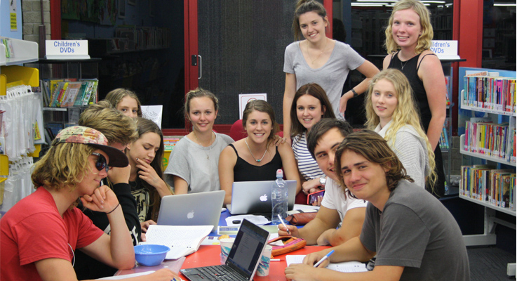 Jessie Armstrong, Sam Ellery, Victoria Cross, Marnie Maytom, Nyssa Davis, Chantelle Sanks, Carly Withers, Lily Whitton, Lauren Patch, Alison Warner, Harrison Nowland and Tom Perkins bunkered down in the Library in 2014 for the HSC Study Nights.