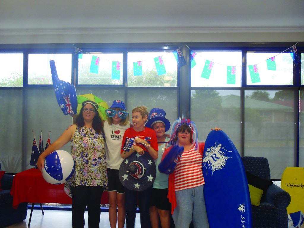 "Pheebe Dillon, Ellie Mugiven, Kristin Hancock, Calena Olliver and Kelly Burns celebrating Australia Day during a ""Chicks Time"" session in the 'Fun House'."