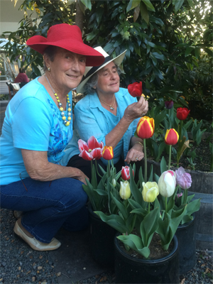 Jean Ryan and Sandy Shuetrim in garden