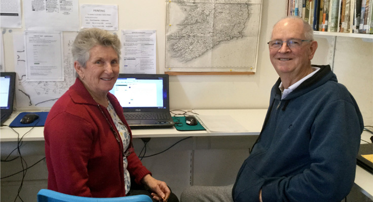 Lesley Turner and John Bolden with the new computer purchased from a recent MidCoast Water grant.