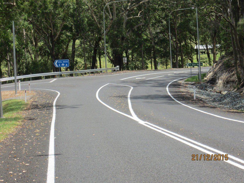 The Seal Rocks Road intersection on The Lakes Way now has a dedicated turn lane to improve safety at the intersection.