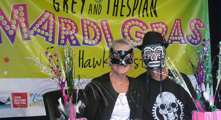 Event organiser Sandra McAvoy, with her partner Tony Vanderwall dressed in his wild and wacky black-and-white attire, prepare for the glitzy, glamorous dinner dance.