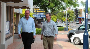 Barnaby Joyce with Federal Member for Lyne Dr David Gillespie.