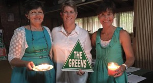 Judith Pickett (Barrington Tops Greens Convenor), Julie Lyford (Greens candidate for Lyne), Sue Kingston (Secretary, Lyford for Lyne campaign team).