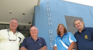 Karuah and District RSL Club Director Garry Roworth, Vice-Presidents Grahame Parker and Margaret Nolan and President Peter Fidden.