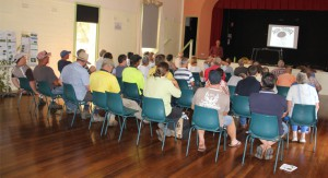 Approximately 45 people attended the Stroud workshop to hear Hunter Local Land Servicesofficer Ms Lorna Adlem speak about the impacts of African Olive