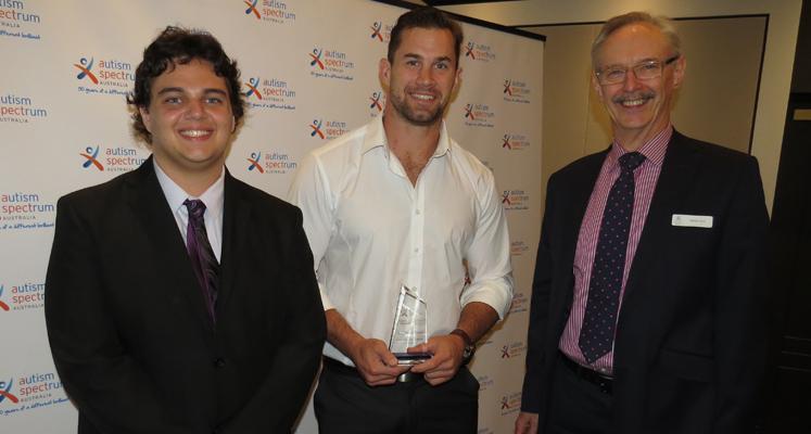 Daniel Sahyoun, Manly Sea Eagles Prop Brenton Lawrence and ASPECT Australia CEO Adrian Ford