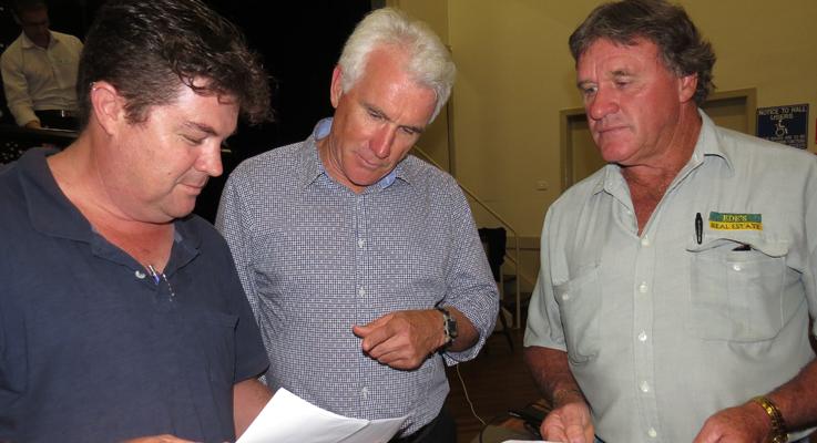David Saul, Great Lakes Council General Manager Glenn Handford and Brian Ede discuss the merger proposal in Bulahdelah