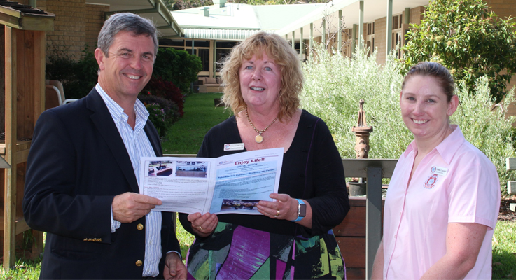 Dr David Gillespie MP, Kay De Mestre and RSL LifeCare Admin Officer Emma Creaswell.