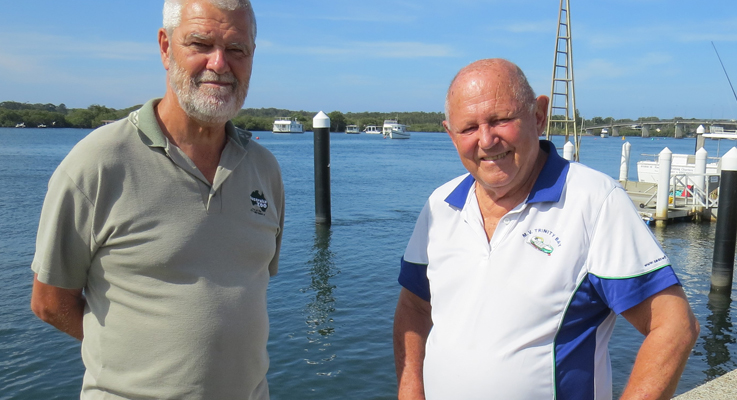 Tea Gardens Slipway Association President Paul Bendy with Gordon Grainger from Myall River Action Group.