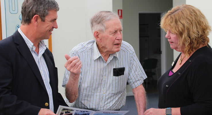 Federal Member for Lyne Dr David Gillespie MP, Peter Sinclair Gardens resident and original founding committee member George Mallam with RSL LifeCare Regional Manager Kay De Mestre