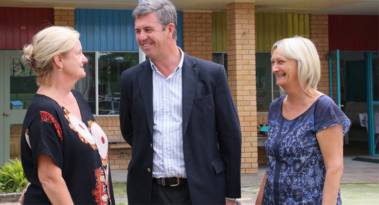 Federal Member for Lyne Dr David Gillespie discusses the proposed upgrade with Preschool Director Judy Clarke and Assistant Teacher Debbie Johnston.