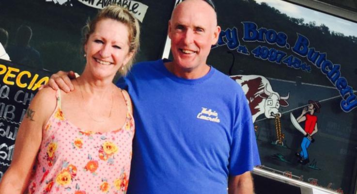 Lee Welsh with her partner Craig McDonald hit the jackpot