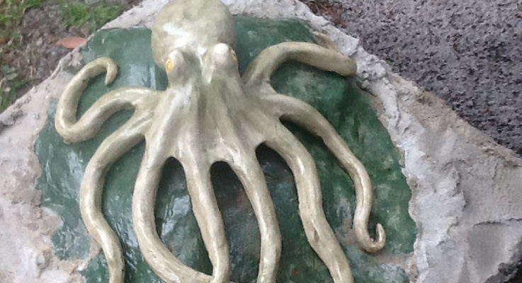 Leigh Allen's ceramic octopus can be viewed in the Myall River.
