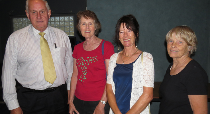 Local Governments Delegate Dr Ian Tiley with Barbara Lyle from Tea Gardens and Pindimar residents Lesley Lane and Vee Hallinan at the Bulahdelah Enquiry.