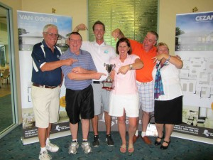 David Gilbert, Robert Marsh, Andrew McCormack (Golf Pro), Pauline Power, Gerard Power, Jen Nichols (Palm Lake Resort).