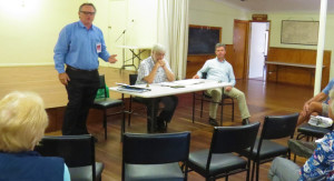 Labor Candidate for Lyne Mr Peter Alley, North Arm Cover Residents Association President Doug Kohlhoff and Federal Member for Lyne Dr David Gillespie debate issues raised by the community.