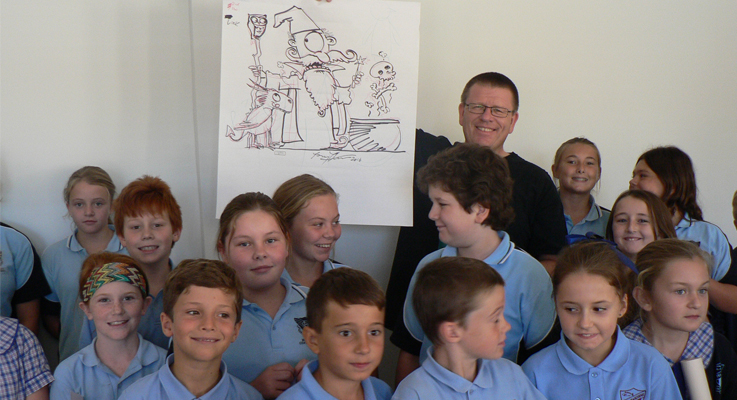Illustrator Tony Flower with the kids.