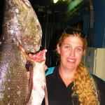 Jessica Slow, Hawks Nest Fishing Club, lands monster catch