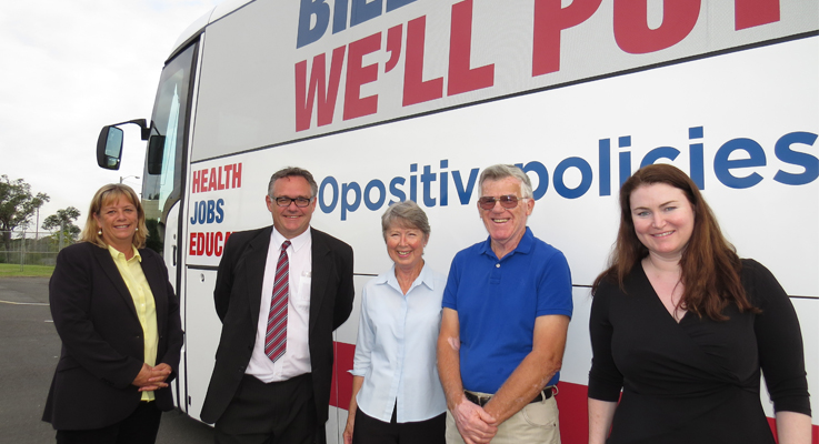 Labor Senate Candidate Vivien Thomson, Country Labor Candidate for Lyne Peter Alley, Chris and Brian Groth from Tea Gardens and Tara Moriarty discuss Federal issues alongside Labor's Campaign Bus.