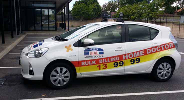 A Home Doctor car operating in the local area