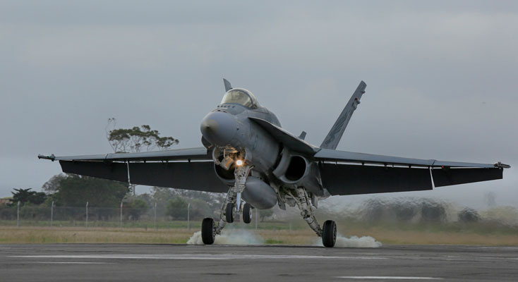 A No. 3 Squadron F/A-18 Hornet touches down at RAAF Base.