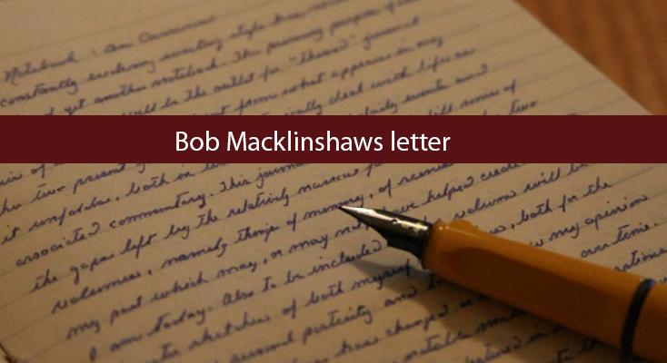 Bob Macklinshaws letter