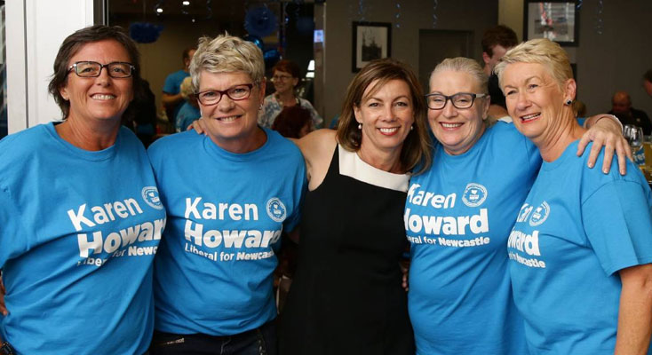 Paterson, Karen Howard  flanked by supporters