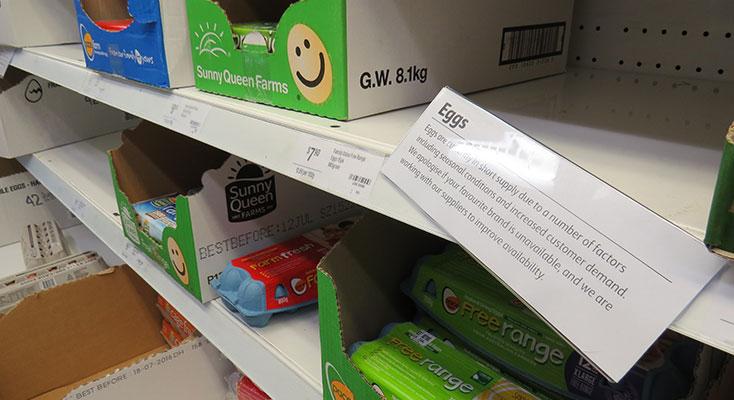 Empty supermarket shelves leave customers scrambling for eggs