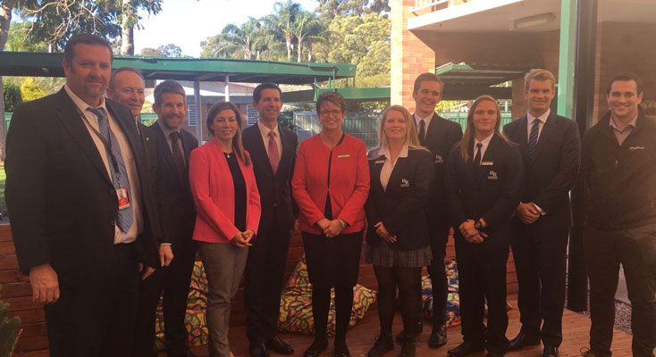 Karen Howard along with Hunter River High staff and students, Minister for Education and Training Simon Birmingham along with local business representatives at the P-TECH announcement
