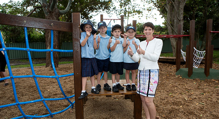 Kate Washington with Primary School students at opening of new playground