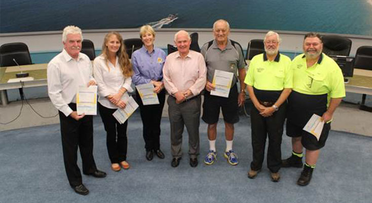 Mayor of Port Stephens, Bruce MacKenzie presents Mayoral Funds to local community groups.