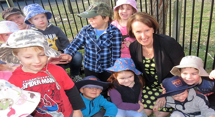 NSW Minister for Early Childhood Education the Hon. Leslie Williams planted a Lemon Myrtle tree in the preschool garden assisted by the children.