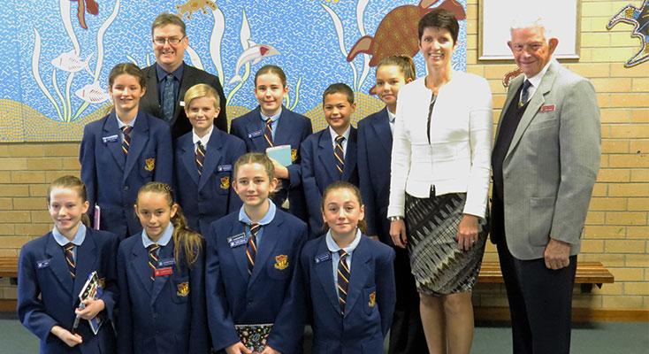 Principal and Governor-General Mr Mark Clemson, invited guests Kate Washington MP and Darryl Martin with School Parliament members Sophia Jeffries, Luke McCarthy, Lily-Arum Laws, Toby Avery, Grace Burke, Abbie Smith, Lilliana Baillie, Casey O'Bryan and Tyleya Dungay.