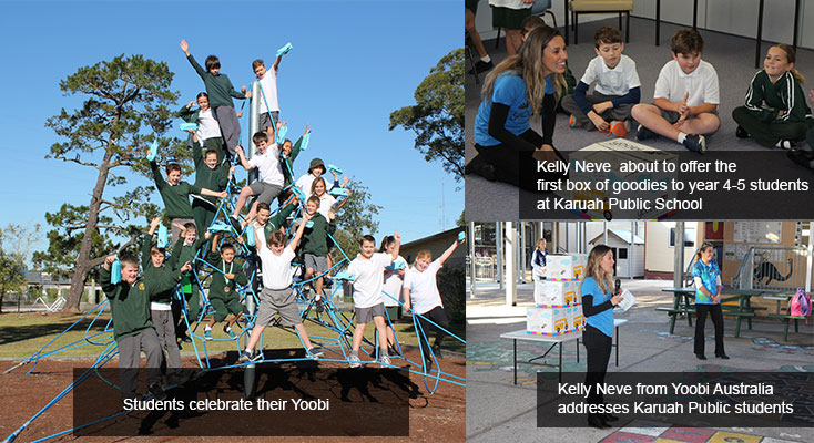 Yoobi spokesperson Kelly Neve worked the young crowd into a frenzy describing how many items each student was to receive