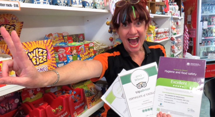 Anne Rutter from Tea Gardens Ice Cream Shack with the TripAdvisor Certificate of Excellence.