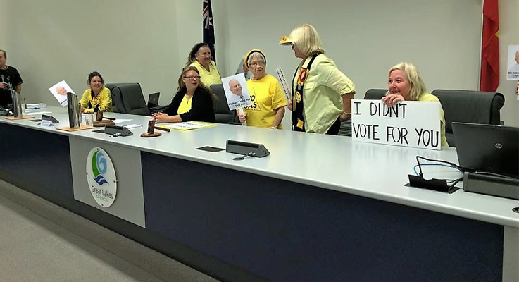 Knitting Nannas took over the Administrator's Chair bringing the meeting to a halt