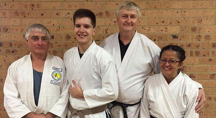 Robert Toll, chief instructor, Callum Young, brown belt, Brian Sharp, 5thdan black belt and Maria Sharp, 6thdan black belt