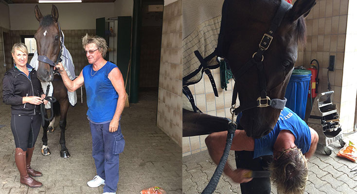 Farrier Perry Lethorn, rider Sue Hearn with horse Lloyd,in Germany