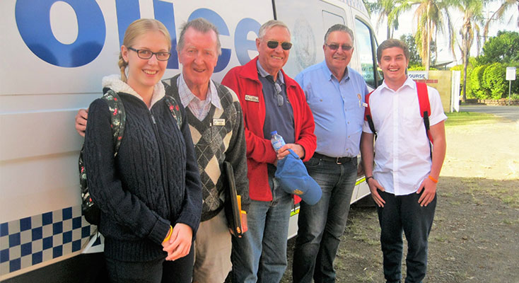 Bulahdelah Central School student Kaitlyn Gregory, Myall Coast Rotary Youth Activity Coordinators Graeme Dunn and Ian Mackenzie-Smith, RYDA Coordinator Laurie Easter and Year 11 student Bailey Shultz.