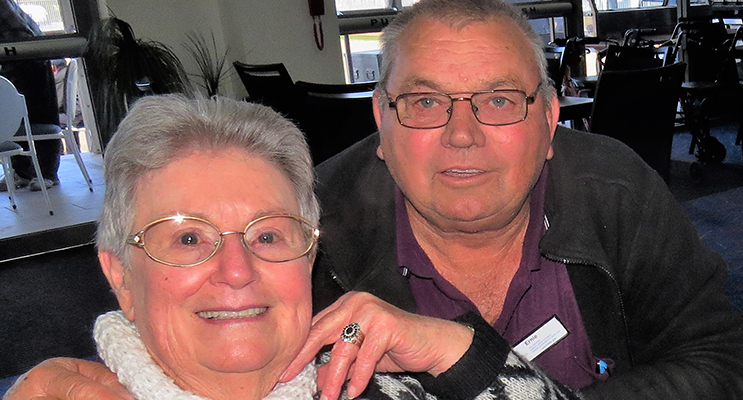 CHRISTMAS CHEER: Yvonne Snowden and Ernie Holstein from Stroud.
