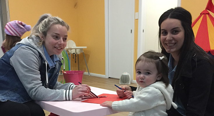Child care at the new gym Sam Callaghan and Hannah Cameron with child, Maliyah Cook