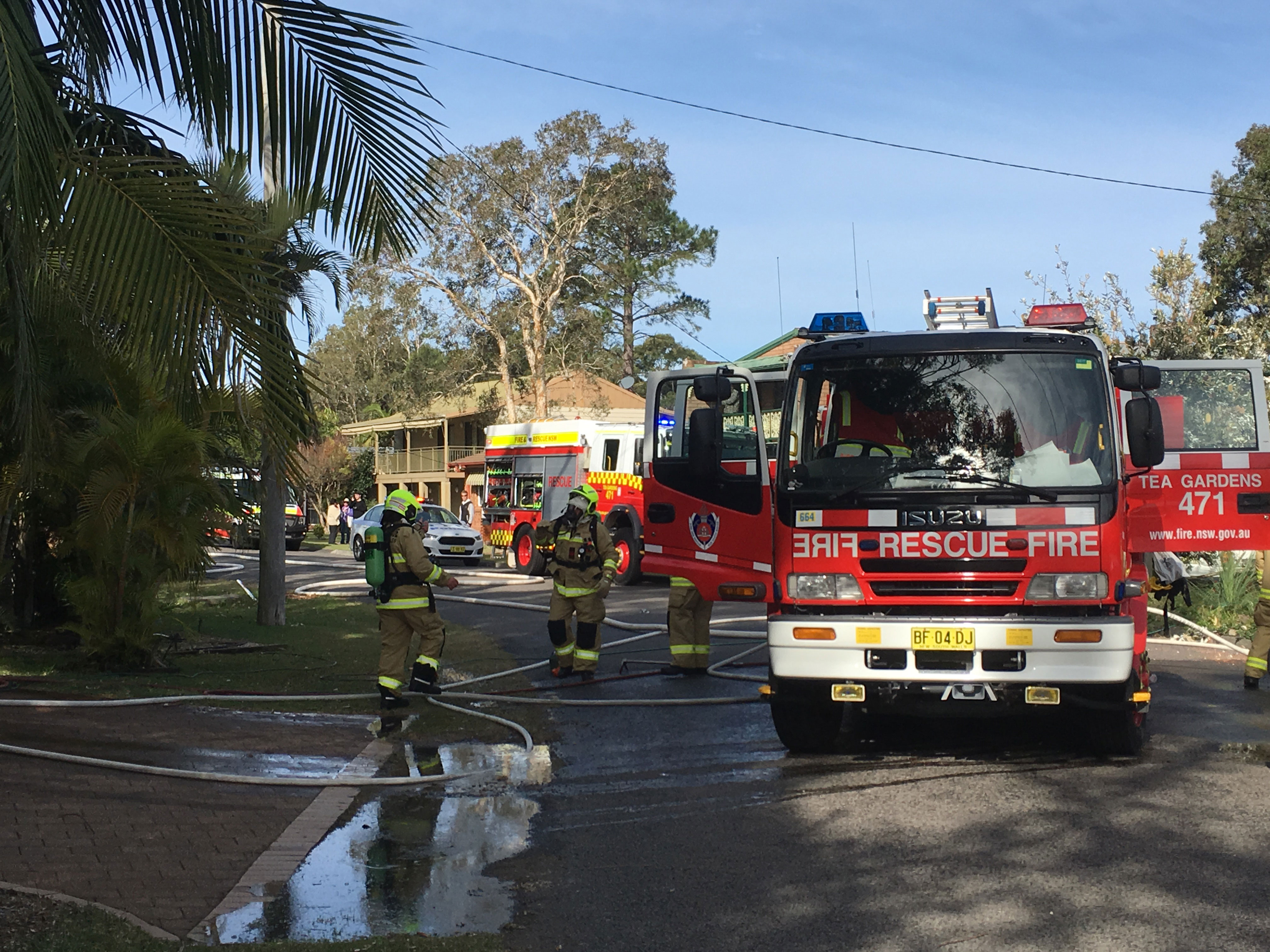 NSW Fire and Rescue crews from Tea Gardens attended the house fire quickly
